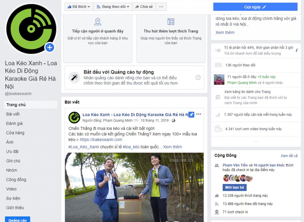 facebook loa keo xanh